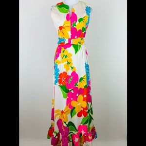 Vintage Malia Honolulu Floral Maxi Dress Small